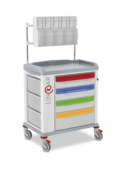 LINKAR Pediatric trolley, 60 cm drawers, with upper...