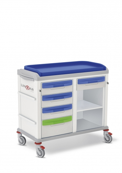 LINKAR Baby-Changing trolley, 45+45 cm drawers, with...