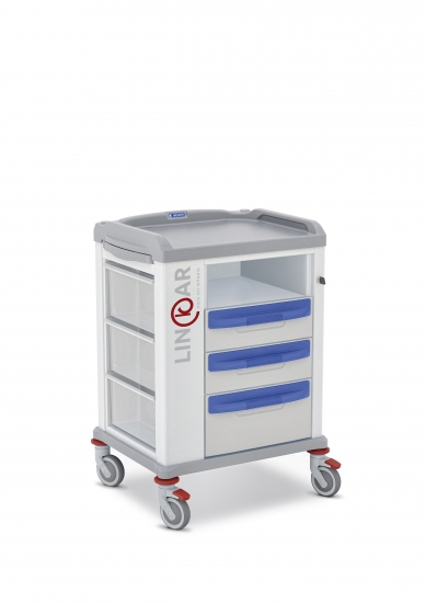 LINKAR Utility trolley, 45 cm drawers, with open compartment