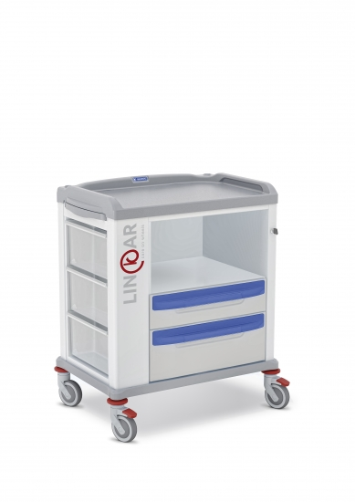 LINKAR Utility trolley, 60 cm drawers, with open compartment