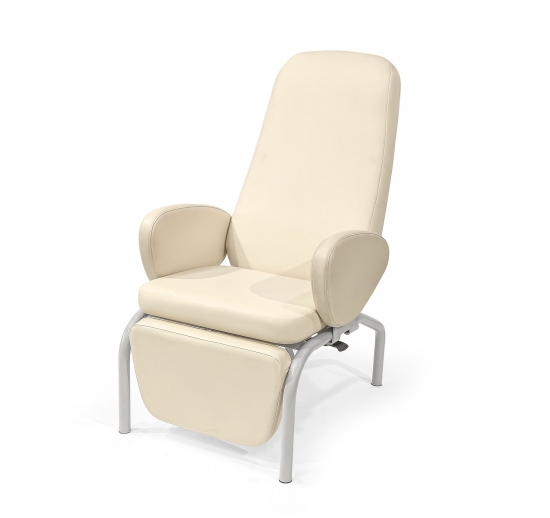 Easy chair with backrest and leg rest adjustment by...