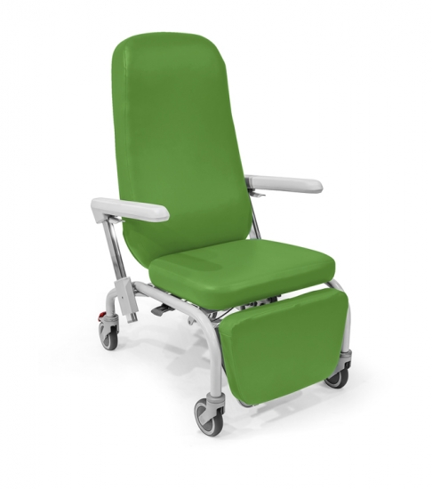 Easy chair with wheels. Backrest and leg rest adjustment by...