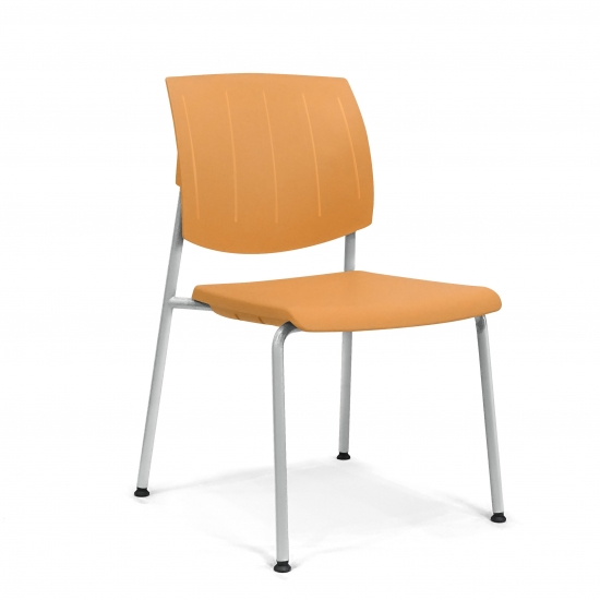 Stackable CHAIR with seat and back made of plastic material.