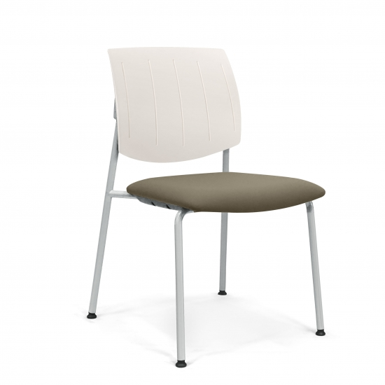 CHAIR with padded seat and back made of plastic material.