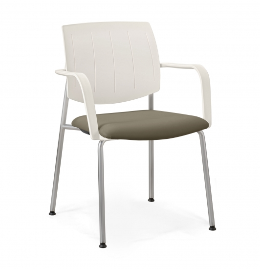 Stackable SMALL ARMCHAIR with padded seat and back made of...