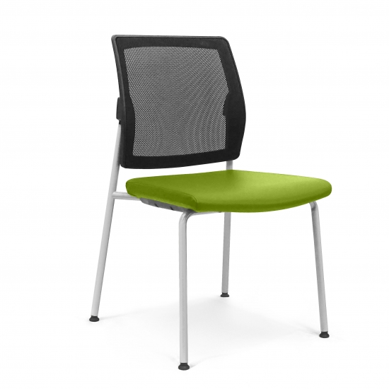 CHAIR with padded seat and mesh backrest.