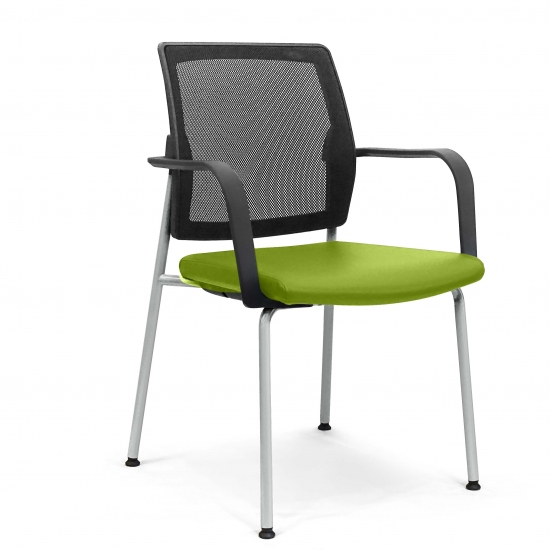 Stackable SMALL ARMCHAIR with padded seat and mesh backrest.