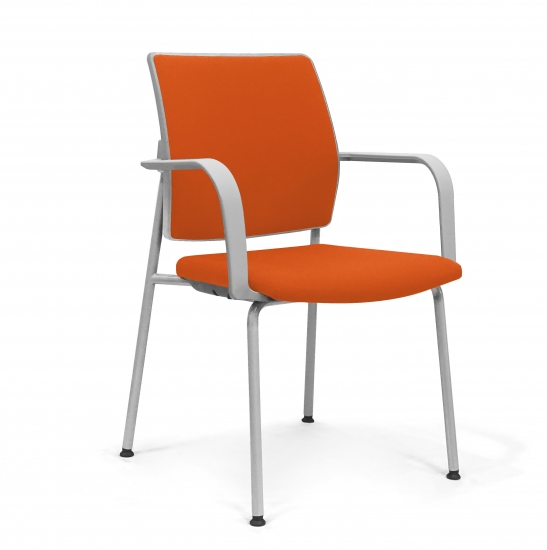 Stackable SMALL ARMCHAIR with padded seat and back.