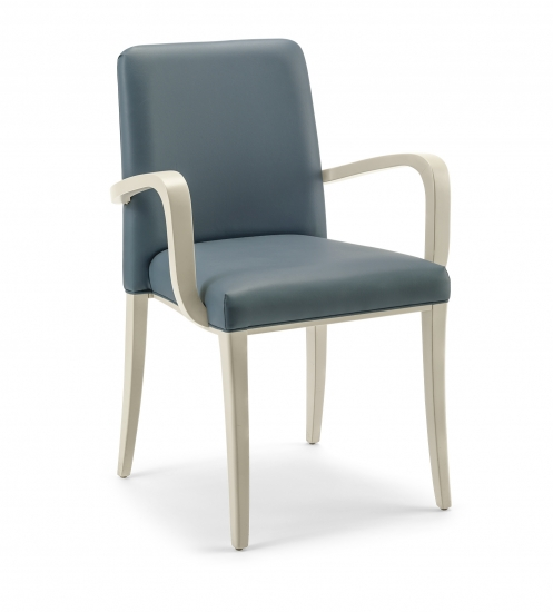Small armchair with upholstered backrest and seat
