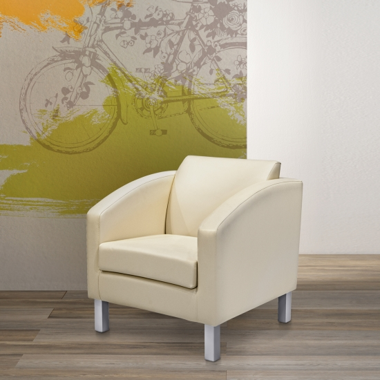 Upholstered armchair, wooden frame and metal feet