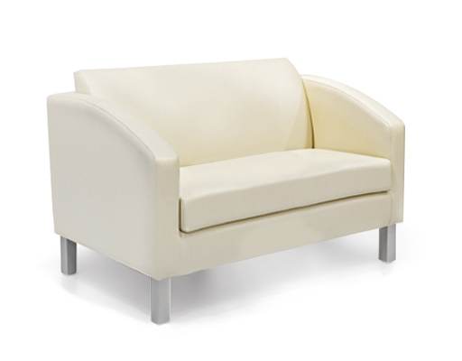 2 seater divan, upholstered, wooden frame and metal feet