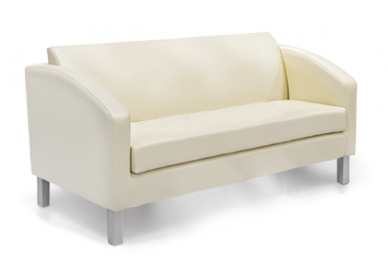 3 seater divan, upholstered, wooden frame and metal feet