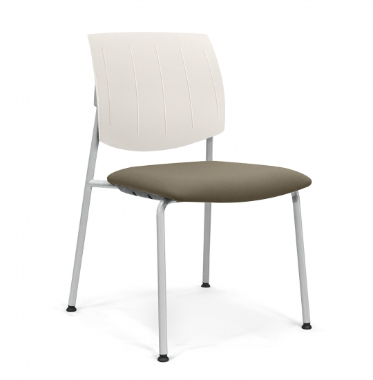 Chair with back made of plastic material and padded seat
