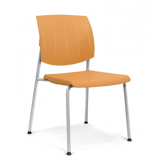 Chair with back and seat made of plastic material