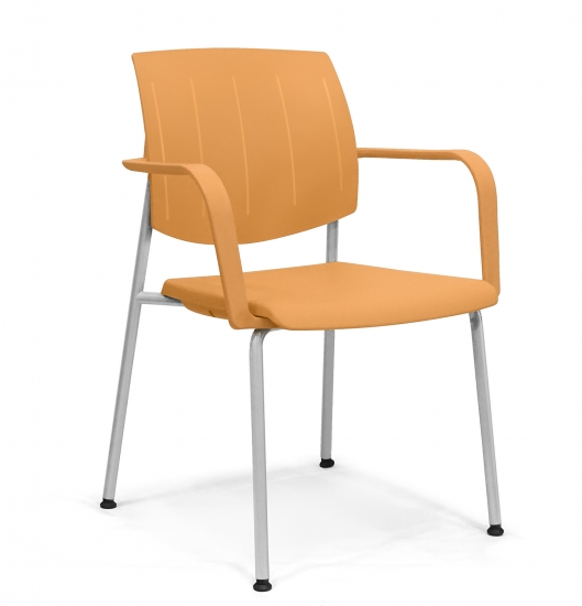 Small armchair with back and seat made of plastic material