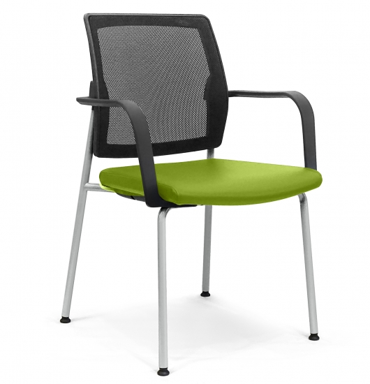 Small armchair with mesh backrest and padded seat