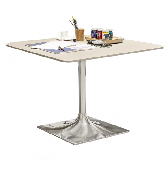 Square table, bevelled edge, 50 mm rounded corner, central...