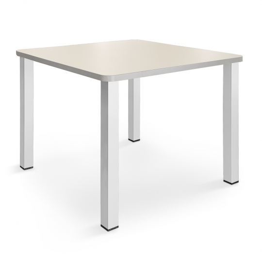Square table, 50 mm rounded corner, painted legs