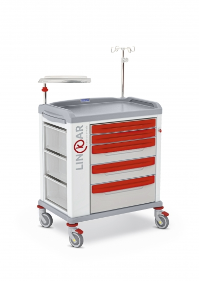 LINKAR Emergency trolley, 60 cm drawers, with defibrillator...