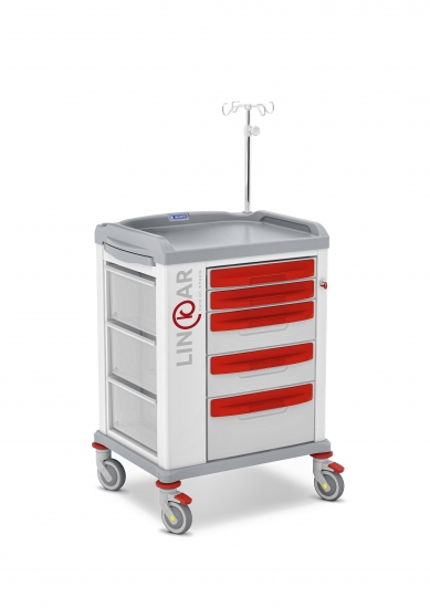LINKAR Emergency trolley, 45 cm drawers, with IV pole
