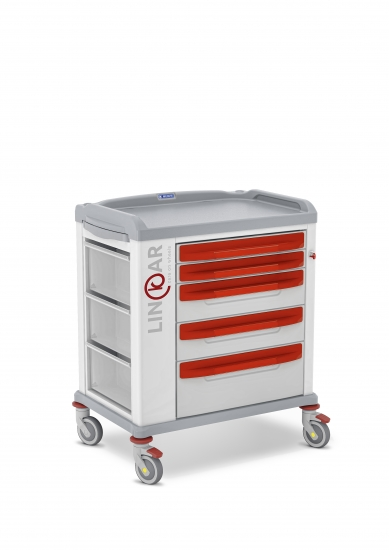 LINKAR Emergency trolley, 60 cm drawers, with IV pole