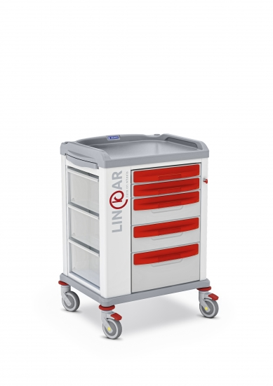 LINKAR Emergency trolley, 45 cm drawers
