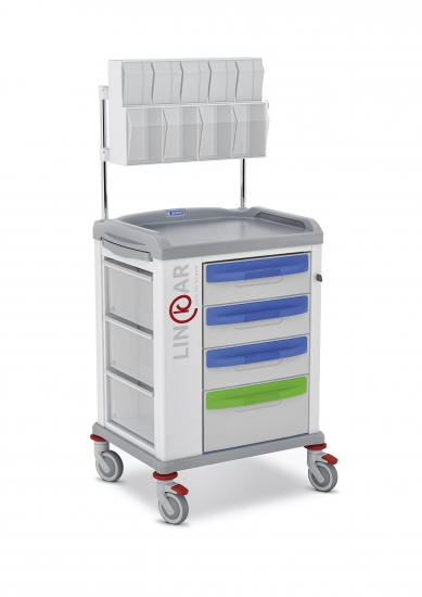 LINKAR Medication trolley, 45 cm drawers, with upper...