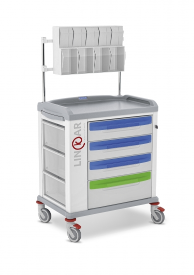 LINKAR Medication trolley, 60 cm drawers, with upper...