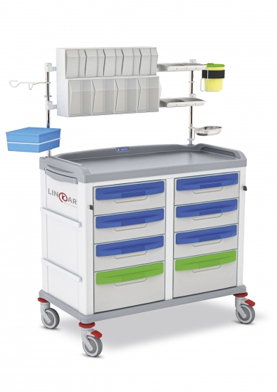 LINKAR Medication trolley, 45+45 cm drawers, with...