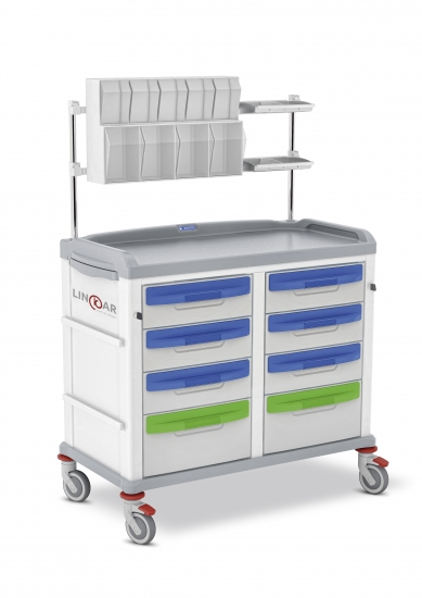LINKAR Medication trolley, 45+45 cm drawers, with upper...