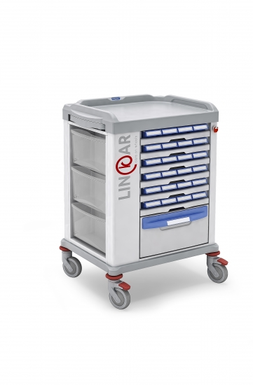Monodose trolley, n.24 medication bin, 45cm drawers