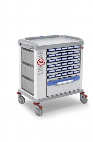 Monodose trolley, n.30 medication bin, 60cm drawers