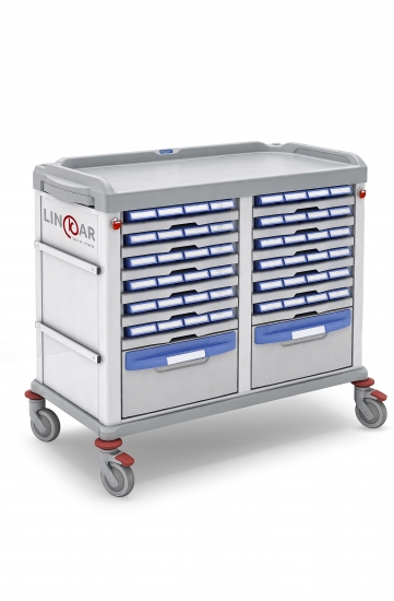 Monodose trolley, n.48 medication bin, 45+45cm drawers